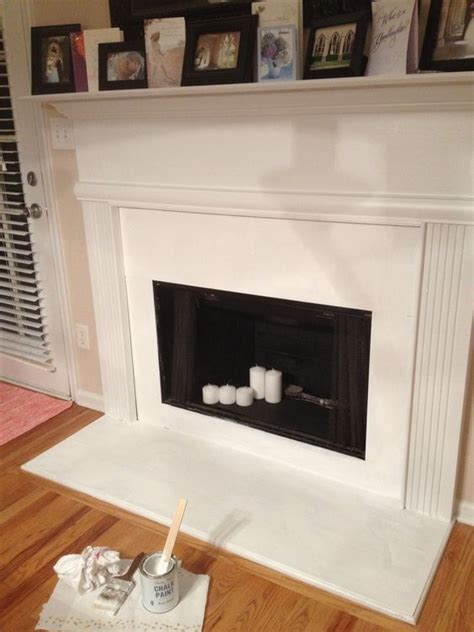painting the inside of a fireplace painted with high heat paint inside along with chalk paint on outside no prep work whatsoever