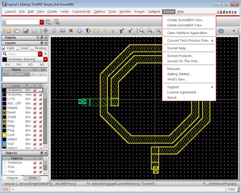 layout design cadence integration with cadence virtuoso sonnet software