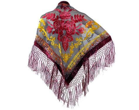 Pashmina Silk Import Ps58277 Burgundy triangle fashion burn out velvet shawl floral fringes crochet design jon s imports inc