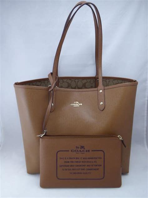Coach City Tote Sign Saddle 6 coach f36658 imbdx reversible pvc tote in signature khaki