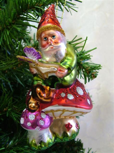 new glass garden gnome reading mushroom shroom christmas