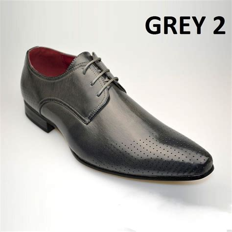 mens fashion new grey leather shoes formal smart dress uk