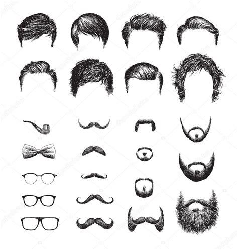 diversi tagli di barba set di diversi tagli di capelli di barbe
