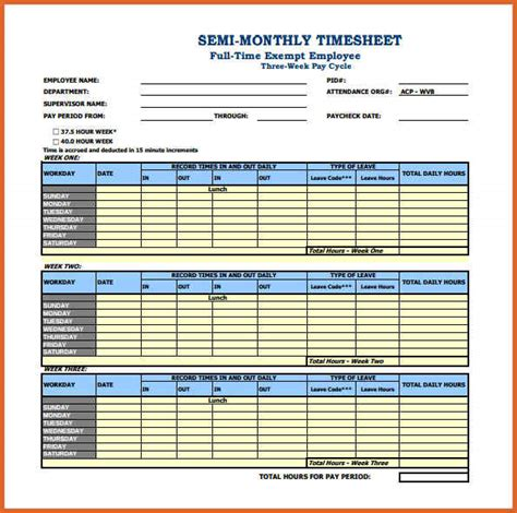 Resume Format Excel Sheet beautiful semi monthly timesheet template images resume