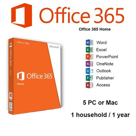 microsoft office 365 home 5 pc s or macs 1 year