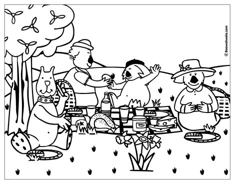 Coloring Pages Family Picnic Coloring Home Picnic Coloring Page