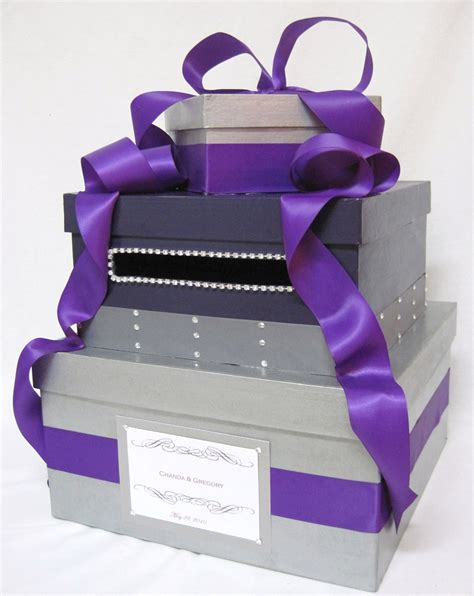 card box purple bling wedding card box money holder by