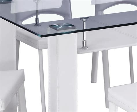 Glass White Dining Table Rowland White Glass Dining Table And Chairs