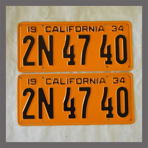 Vanity Plates For Sale by 1934 California Yom License Plates For Sale Restored