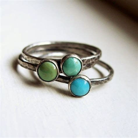 trio of rustic turquoise stacking rings in antiqued