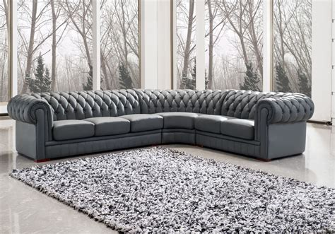 appealing grey upholstered sectional leather chesterfield