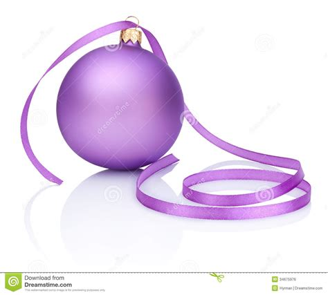 purple christmas ribbon one purple bauble and ribbon isolated on white royalty free stock image image 34675976