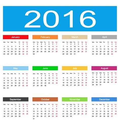 Calendar Graphic 2016 Calendar Vector Illustration Free Vector Graphics