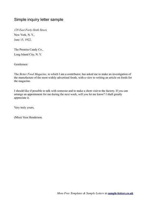 business letter inquiry sample letter sample