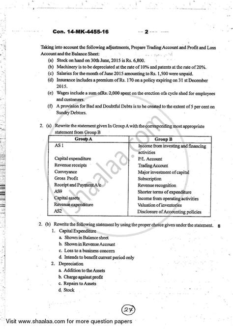 paper pattern 1st year 2016 question paper accounts 1 accounting and financial