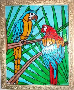 Desert Wall Mural glass painting of two parrots ereena flickr