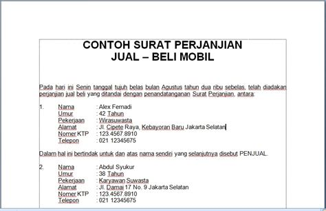 contoh surat perjanjian contoh surat motorcycle review and galleries