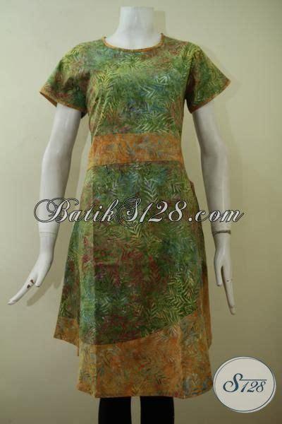 Dress Batik Cap Bantulan Kombinasi Ukuran M Berlapis Trikot dress batik cap smoke lengan pendek dengan kombinasi warna hijau dan kuning yang keren berpadu