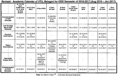 Vtu Mba Syllabus 2016 17 by Vtu Re Revised Academic Calendar For The Semester
