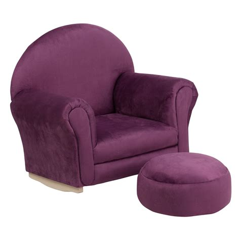 childs purple rocking chair baby i am purple microfiber rocker chair and footrest