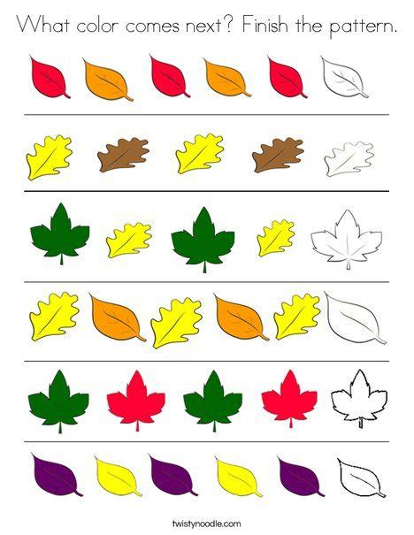 leaf pattern sheets what color comes next finish the leaf pattern worksheet