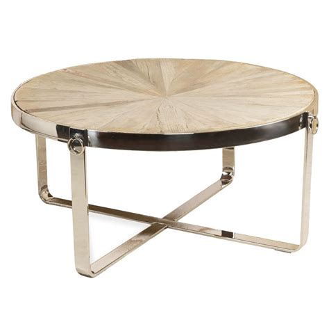stainless steel coffee table zanuso industrial reclaimed elm stainless steel circular coffee table