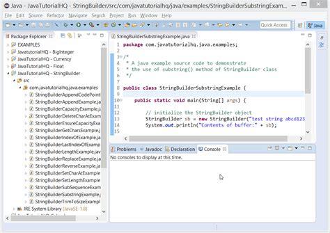 java stringbuilder substring method exle
