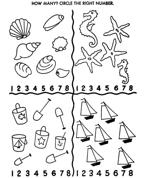 Counting Activity Sheets Count Sea Shore Objects Counting Coloring Pages