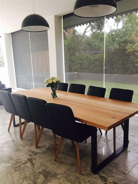 large dining table industrial steel loop leg handmade
