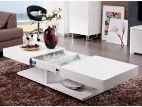 table basse aramis avec rangements mdf laqu 233 blanc