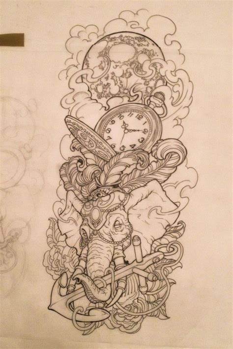 detailed elephant tattoo posh uncolored detailed elephant head with compass and