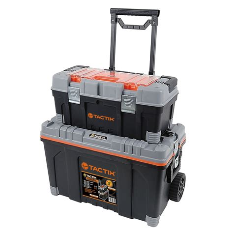 trojan tool chest and cabinet set tactix 2 in 1 rolling tool box set bunnings