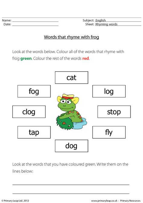 words that rhyme with words that rhyme with frog