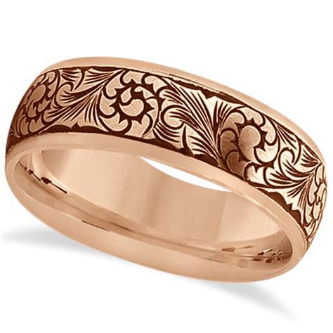 Ring Gorden Cincin Gorden Jumbo fancy engraved flower design wedding band 14k gold allurez