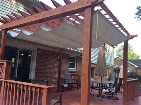 pergola with shade pergola shade made with a painters tarp from home depot