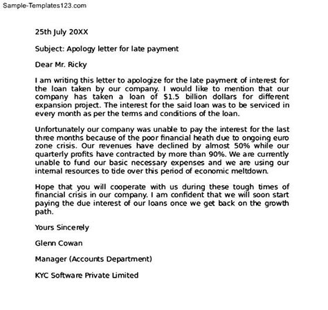 Apology Letter Payment Delay Apology Letter For Late Payment Sle Templates