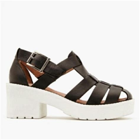 sandals from the 90s shoes white black chunky platform shoes sandals 90s