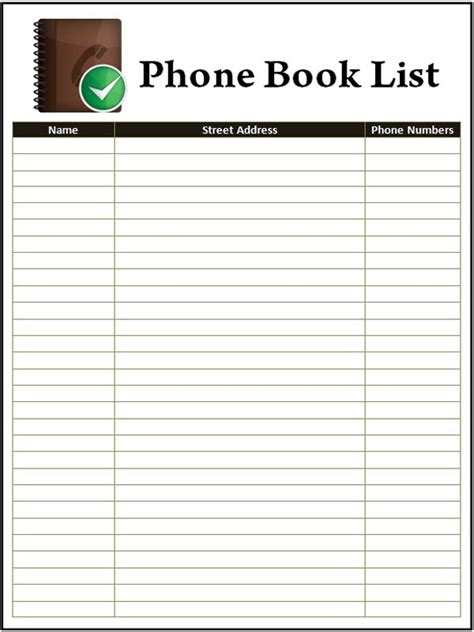 printable phone list template address and phone book template