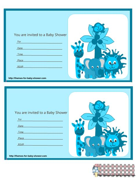 8 Best Images Of Blue Safari Baby Shower Printables Blue Safari Baby Shower Template Blue Free Printable Safari Baby Shower Invitation Templates