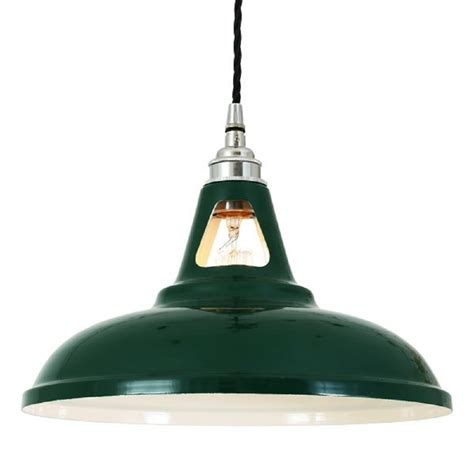 Classic Pendant Lighting Ceiling Pendant Light Vintage Factory Style Painted In Racing Green