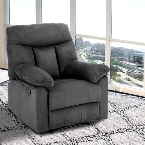 Reclining Sofa Chair Faux Suede Recliner Sofa Lazy Chair With Detachable Armrest Reclining Seat Grey