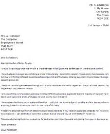 exle cover letter uk meter reader cover letter exle icover org uk