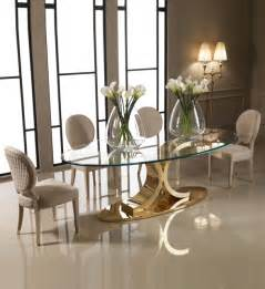 Designer Glass Dining Tables Designer 24 Carat Gold Oval Glass Dining Table