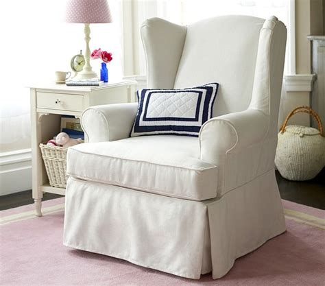 Slipcovers For Chairs With Arms Slipcovered Wingback Glider Rocking Chairs Other Metro