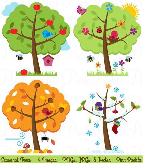 seasons clipart four seasons trees clipart vectors illustrations on