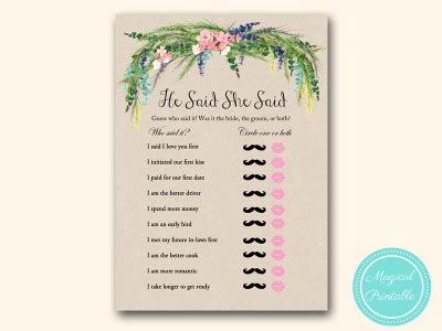 he said she bridal shower luau hawaiian bridal shower magical printable
