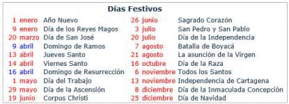 Calendario 2017 Fechas Festivas Calendario 2017 Colombia 171 Excel Avanzado