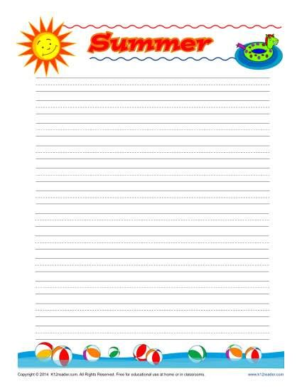summer writing paper template summer printable lined writing paper writing paper