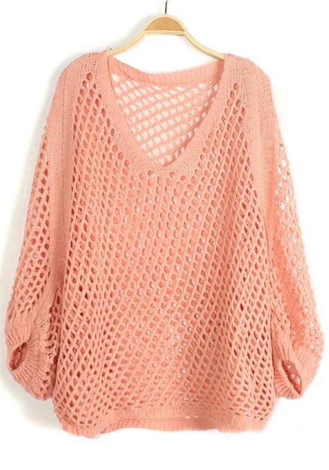 pink knit sweater pink hollow out irregular bat sleeve knit sweater