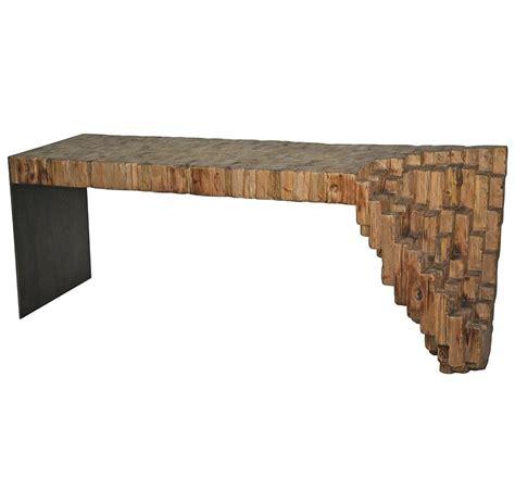 wood metal console table lassi global bazaar sculptural reclaimed wood metal